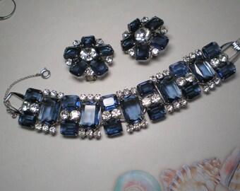 D&E aka Juliana Blue Emerald Cut and Clear Chaton Demi Parure   Item No: 17180
