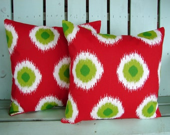 """Sale Set of 2 18"""" X 18"""" red,white,chartreuse,green Ikat Domino print- Christmas pillow-  decorative pillow cover-gifts under 40-throw pillow"""