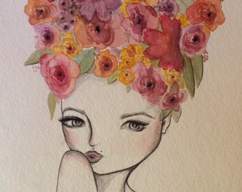8x10 watercolor and pencil flower hair girl
