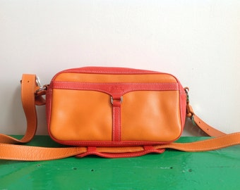 SALE Longchamp, Paris Orange Leather Crossbody Shoulder Bag