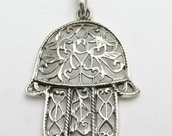 Handmade 925 Silver Hamsa Hand filigree pendant Judaica LARGE