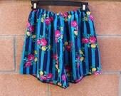Blue stripe floral shorts