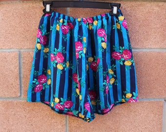 Blue stripe floral shorts