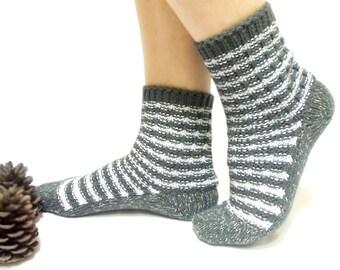 Knitted Socks, Christmas Socks, Handmade Socks, Gray, White, Cream, Stripes, Santa Socks, Handmade Traditional, Long Slippers