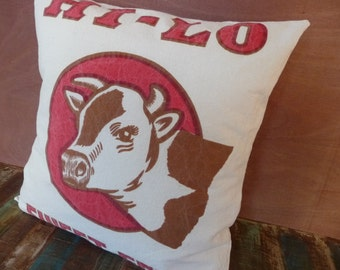 Cow Pillow Cover - Feedsack Pillow Cover Style - Rustic Decor - Hi-Lo Sweet Feed -  Feed Sack Pillow - Country Decor - Farmhouse Chic