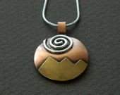 "Mixed metal jewelry- mixed metal pendant ""Golden Peaks with a silver river"""