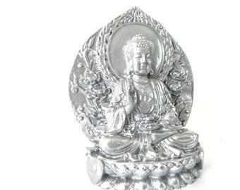 buddha statue, zen decor, sitting on lotus, buddha figurine, serenity, home decor, asian