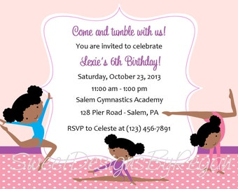 Gymnastics Invitation African American Design   - (Digital File) / Gymnastics Birthday Invitation / Gymnastics Party Invitation