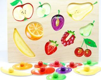 Waldorf developing wooden puzzle - fruit