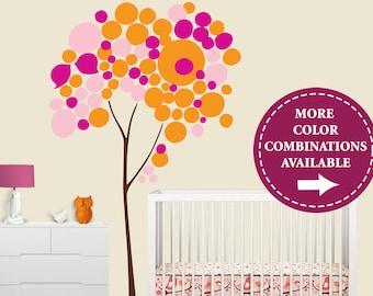 Children Wall Decal - Circle Tree Wall Decal - Pink Orange Nursery - Skip Hop Springtime Birdie Bedding