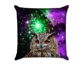 Outer Space Owl 2 - Original Graphic Sofa Throw Pillow