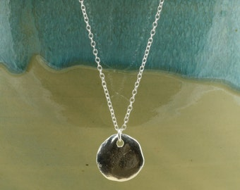 Silver Greek Disc Necklace with Sterling Silver Chain, Silver Disc Necklace, Silver Necklace