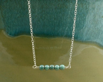Blue Glass Bar Necklace with Sterling Silver Chain