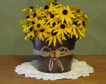 Rustic Wedding Table Number Centerpiece - Metal Pail Bucket