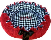 Dog Bed Black and White Houndstooth minky with Red dot Minky