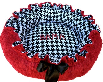 Small Round Dog Bed, Black and White Houndstooth Minky with Red dot Minky