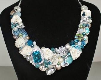 Turquoise Bib Necklace- Blue Necklace-Turquoise Statement necklace-Blue Bib-Teal Blue Bridal Bib- Turquoise Bridal Necklace-Teal wedding Bib
