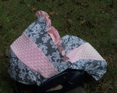 Grey damask pink minky baby car seat cover infant seat cover slip cover Graco fit or evenflo gray