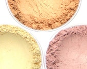 "Light Shimmery Blush Set - ""Radiance,"" ""Bellini,"" ""Free Spirit"" (3 x 4.5g Net wt Jars) Vegan Natural Mineral Makeup Shimmer"