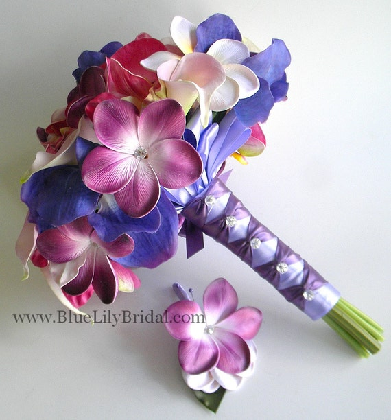 Purple Tropic  Destination Bridal Bouquet and Grooms Boutonniere- Beach Wedding