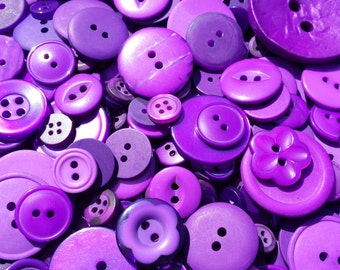 "500 Small Purple Plum Jewel Tone buttons - bulk buttons, beautiful unique color, small multi sizes 1/8"" up to 5/8"", no shanks, gift wrapped"