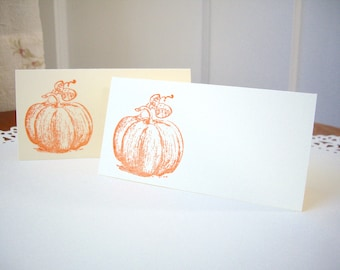 pumpkin place cards, fall place cards, autumn place cards, thanksgiving place cards, ivory place cards, party favor, DIY, 10 cards