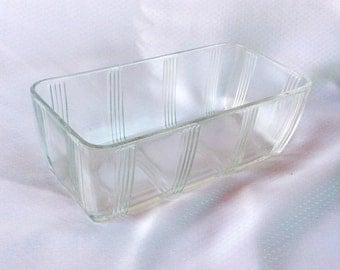 Hazel Atlas Criss Cross Refrigerator Loaf Dish Depression Glass 1930s