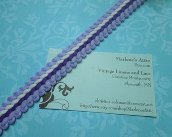 1 yard of 3/4 inch vintage purple white gimp braid trim, lavender gimp trim lavender braid, purple soutache braidby MarlenesAttic - Item NN2