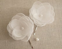 White Small organza fabric flowers in handmade with ivory pearls, Bridal hair shoe clip Flower girls accessory, Christening Confirmation Set