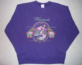 80s 90s Vintage Purple Wisconsin Sweatshirt Hipster Tacky Gaudy Ugly Christmas Sweater Party X-Mas Made In USA Winter Warm Holiday L Large