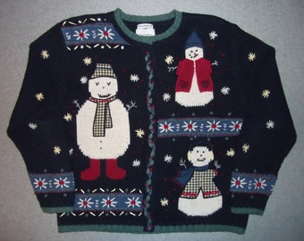 Freaky Scary Haunted Snowmen Snowman Family Sweater Winter Wonderland Tacky Gaudy Ugly Christmas Sweater Party X-Mas Warm Button Up L Large