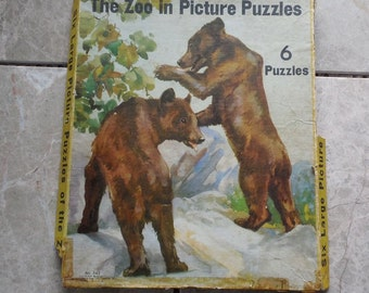 Vintage Zoo Puzzles Set of Six