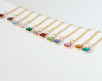 Birthstone Necklace. Personalized Necklace. Birthstone Swarovski Necklace. Swarovski Birthstone. Gold Filled Chain. Gift For Her