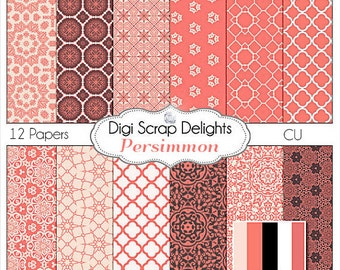 Persimmon Digital Scrapbook Paper  Instant Download, for scrapbooking, card making, photographers, photo cards