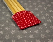 Red Double-pointed Knitting Needle Holder with White Polka Dots