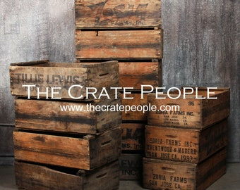 Vintage wood crates etsy for Where to buy used wine crates