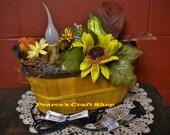 Lighted Fall Basket, Electric Candle Floral Arrangement, Gourds & Flowers,  Autumn Lighted Centerpiece, Thanksgiving Arrangement