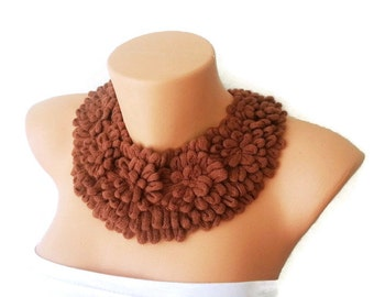 Cinnamon Knitted collar Necklace, peter pan collar, lace collar, Detachable Collar, collar necklace,Bridesmaid