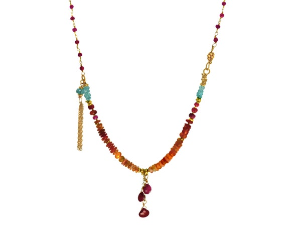 Beaded Tassel Necklace. Gold Fill or sterling silver. Mexican Fire Opal, Ruby and Apatite NM-1116