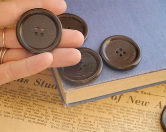 "Large 8 pcs Dark Brown Wood Buttons 40mm 1 5/8"" (WB998)"