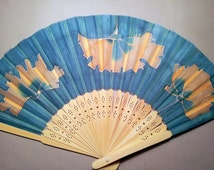Hand fan -Silk Painted -Natural Wood -Yellow flowers on dark blue