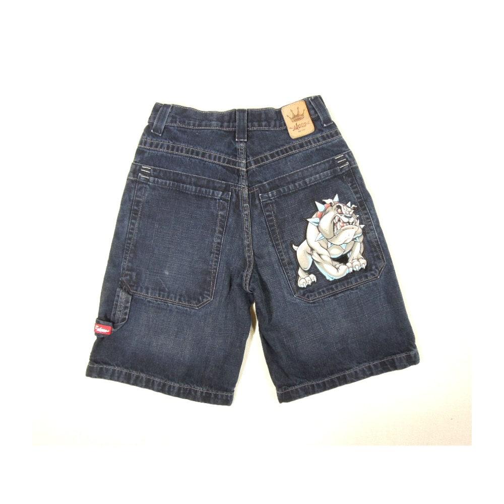 90s JNCO Big Pocket Bull Dog Low Down Baggy Denim Jean Shorts