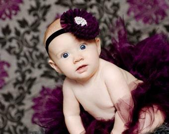 Sugar Plum Fairy Tutu Set with Sewn Plum Rhinestone and Pearl Headband Photography Prop