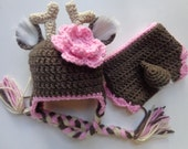 Newborn Girl White Tail Deer Hat and Diaper Cover Photo Prop baby Girl baby boy
