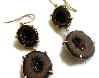 14K Gold Tabasco Geode Earrings, Long Drusy Quartz Earrings ,Raw Stone Red  Geode Drop Earrings, ARTISAN HANDMADE by Sheri Beryl