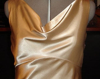 Golden Champagne stretch Satin gown