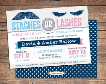 Gender Reveal Invitation, Staches or Lashes Gender Reveal Party Invitation, Lashes or Staches Gender Reveal Party Invitations