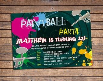 Paintball Invitation | Printable | Boys Birthday Party Invite
