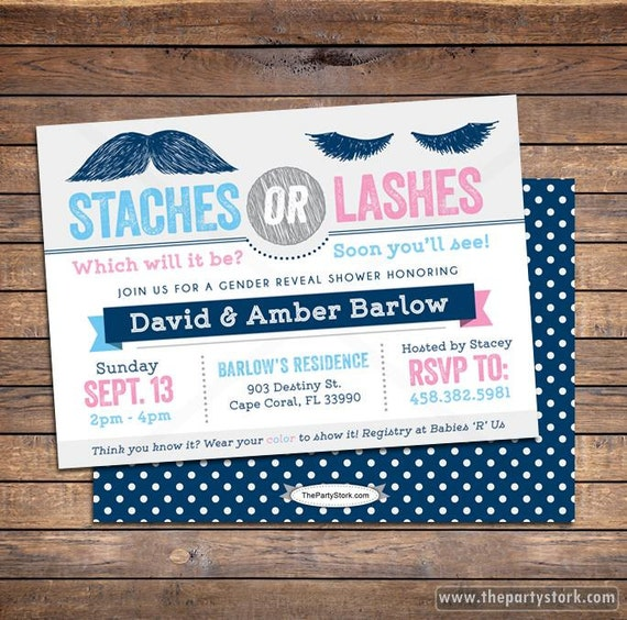 Gender Reveal Invitation Staches or Lashes Gender Reveal Party