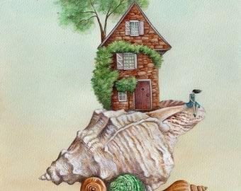 The Shell, Art Print, Watercolor Print, Watercolour, Whimsical Art, Girls Bedroom Art, Girls Room Decor, Girls Art, Bedroom Decor, Shell Art